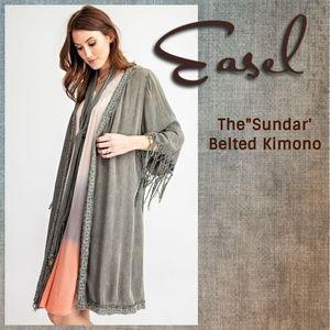 """Easel """"Sundar"""" Embroidered Trim Open Kimono W/Crochet Fringe Trim Belt & Sleeves"""